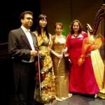 左から、ヤーセル・セラフィ氏(ヴァイオリン)、青木佐也子さん(ピアノ)、渡辺多真美さん(フルート)、モナ・ワーセフさん(ハープ)