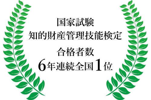 国家試験「知的財産管理技能検定」合格者数で6年連続全国1位獲得!!